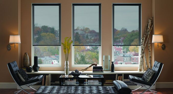 Premium Natural Light Filtering Roller Shades in Horizon Nightfall