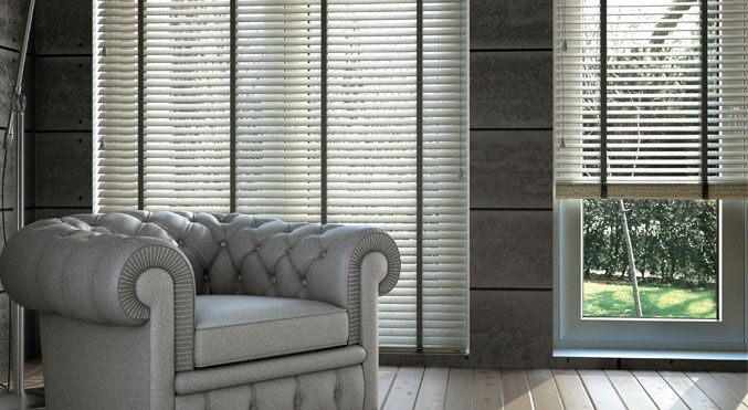 "2 3/4"" Architectural Wood Blinds in Danville Silk White with Obsidian Cloth Tapes"
